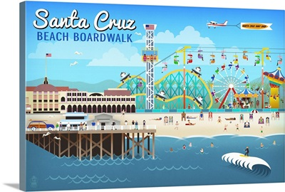 Santa Cruz, California - Retro Scene: Retro Travel Poster