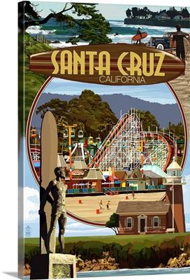 Santa Cruz, California - Scenes Montage: Retro Travel Poster