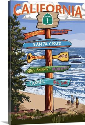 Santa Cruz, California - Signpost Destinations: Retro Travel Poster