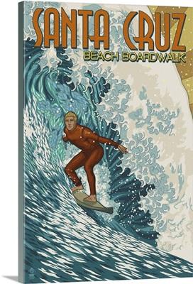 Santa Cruz, California - Stylized Surfer: Retro Travel Poster