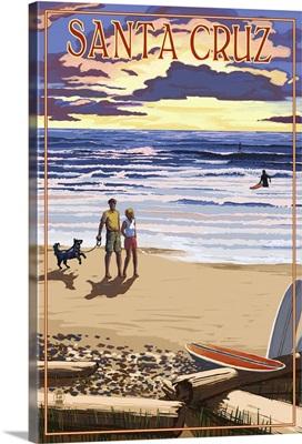 Santa Cruz, California - Sunset Beach Scene: Retro Travel Poster