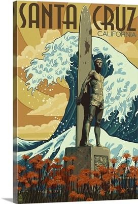 Santa Cruz, California - Surfer Statue: Retro Travel Poster