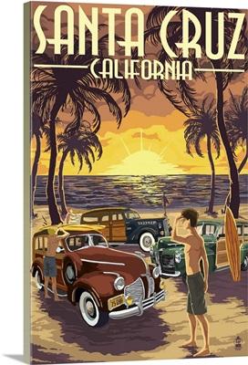 Santa Cruz, California - Vintage Woodies on the Beach: Retro Travel Poster