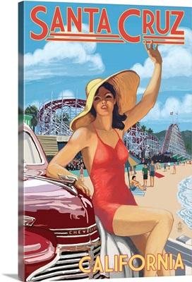 Santa Cruz, California - Woman Waving and Rides: Retro Travel Poster