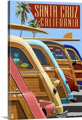Santa Cruz, California - Woodies Lined Up: Retro Travel Poster