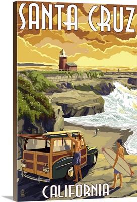 Santa Cruz, California - Woody and Lighthouse: Retro Travel Poster
