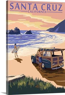 Santa Cruz, California - Woody on Beach: Retro Travel Poster