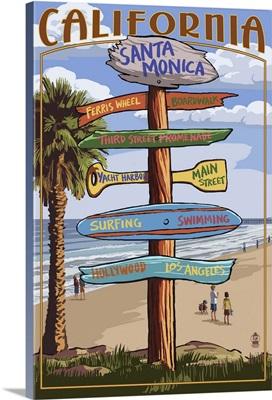 Santa Monica, California - Destination Sign: Retro Travel Poster