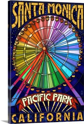Santa Monica, California - Ferris Wheel: Retro Travel Poster