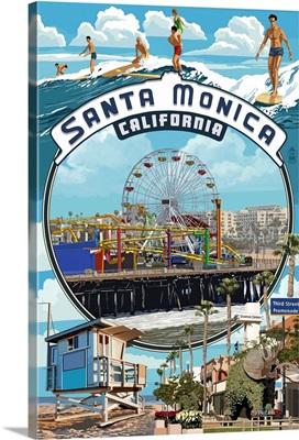 Santa Monica, California - Montage Scenes: Retro Travel Poster