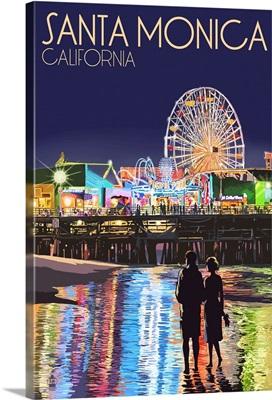 Santa Monica, California - Pier at Night: Retro Travel Poster
