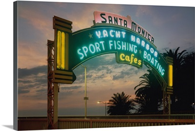 Santa Monica, California, Pier at Sunset Sign