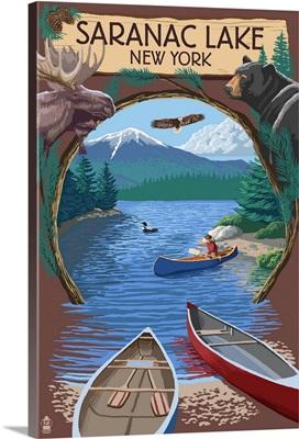 Saranac Lake, New York, Adirondacks Canoe Scene