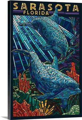 Sarasota, Florida - Dolphin Paper Mosaic: Retro Travel Poster