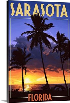 Sarasota, Florida - Palms and Sunset: Retro Travel Poster
