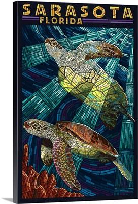 Sarasota, Florida - Sea Turtle Paper Mosaic: Retro Travel Poster