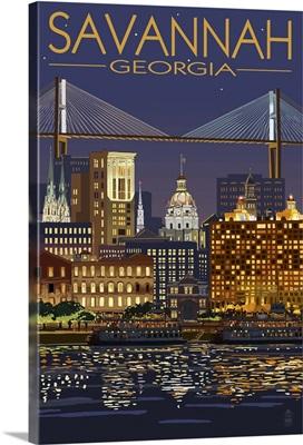 Savannah, Georgia at Night: Retro Travel Poster