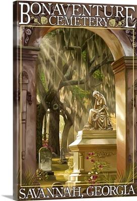 Savannah, Georgia - Bonaventure Cemetery: Retro Travel Poster