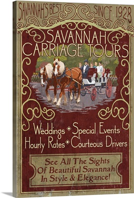 Savannah, Georgia - Carriage Tours Vintage Sign: Retro Travel Poster