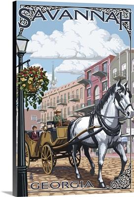 Savannah, Georgia - Horse and Carriage: Retro Travel Poster