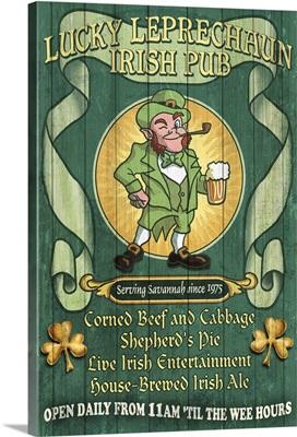 Savannah, Georgia - Leprechaun Irish Pub Vintage Sign: Retro Travel Poster