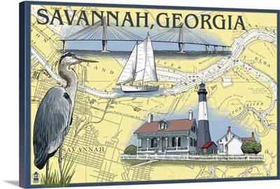 Savannah, Georgia - Nautical Chart: Retro Travel Poster