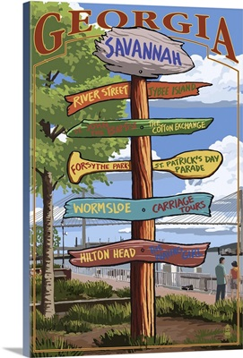 Savannah, Georgia - Sign Destinations: Retro Travel Poster