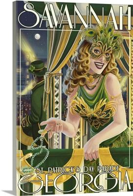 Savannah, Georgia - St. Patricks Day Parade: Retro Travel Poster