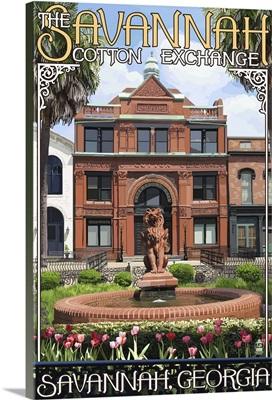 Savannah, Georgia - The Cotton Exchange: Retro Travel Poster