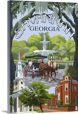 Savannah, Georgia Town Views: Retro Travel Poster