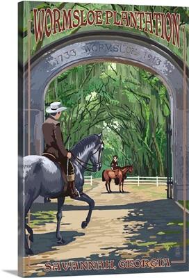 Savannah, Georgia - Wormsloe Plantation: Retro Travel Poster