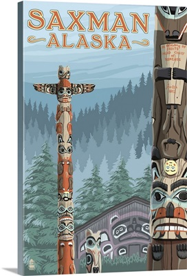 Saxman, Alaska - Totem Scene: Retro Travel Poster