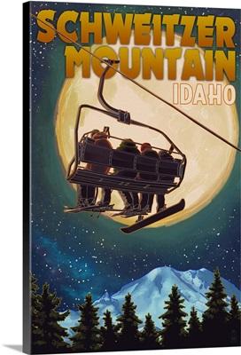 Schweitzer Mountain, Idaho, Ski Lift and Full Moon w/ Snowboarder