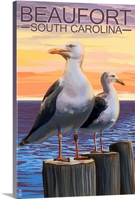 Sea Gulls - Beaufort, South Carolina: Retro Travel Poster