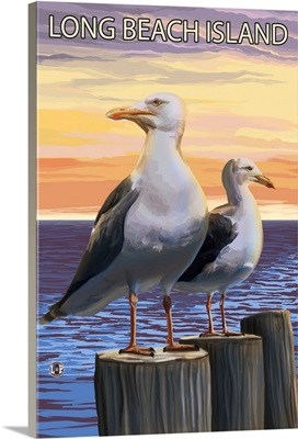 Sea Gulls - Long Beach Island, New Jersey: Retro Travel Poster