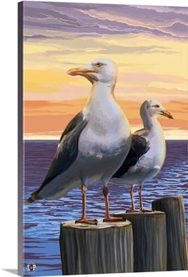 Sea Gulls: Retro Poster Art