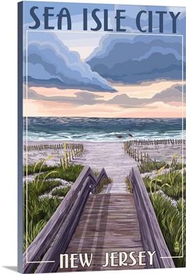 Sea Isle City, New Jersey, Beach Boardwalk Scene