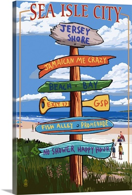 Sea Isle City, New Jersey - Destination Sign: Retro Travel Poster