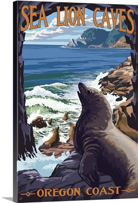 Sea Lion Caves Lookout and Heceta Head Lighthouse: Retro Travel Poster
