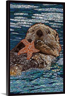 Sea Otter - Paper Mosaic: Retro Poster Art