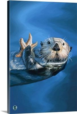 Sea Otter: Retro Travel Poster