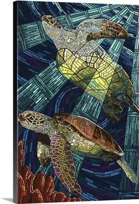 Sea Turtle - Paper Mosaic: Retro Travel Poster