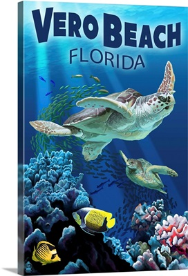 Sea Turtles - Vero Beach, Florida: Retro Travel Poster