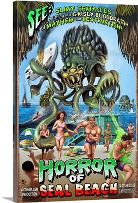 Seal Beach, California - Alien Attack Horror: Retro Travel Poster