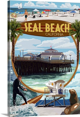 Seal Beach, California - Montage Scenes: Retro Travel Poster