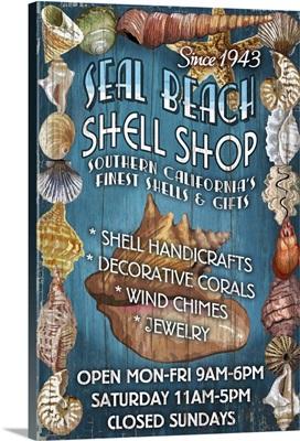 Seal Beach, California - Shell Shop Vintage Sign: Retro Travel Poster