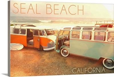Seal Beach, California, VW Vans on Beach