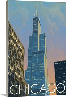 Sears Tower - Chicago, Illinois: Retro Travel Poster