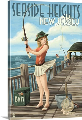Seaside Heights, New Jersey - Fishing Pinup Girl: Retro Travel Poster