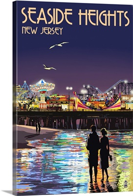 Seaside Heights, New Jersey - Pier at Night: Retro Travel Poster